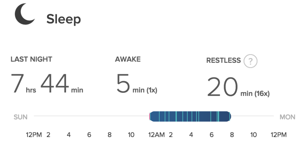 fitbit sleep data day 26
