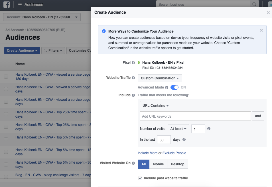 facebook advertising custom audience set up