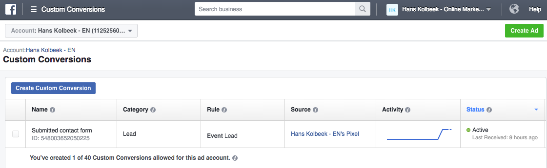 setting up custom conversion tracking for facebook ads