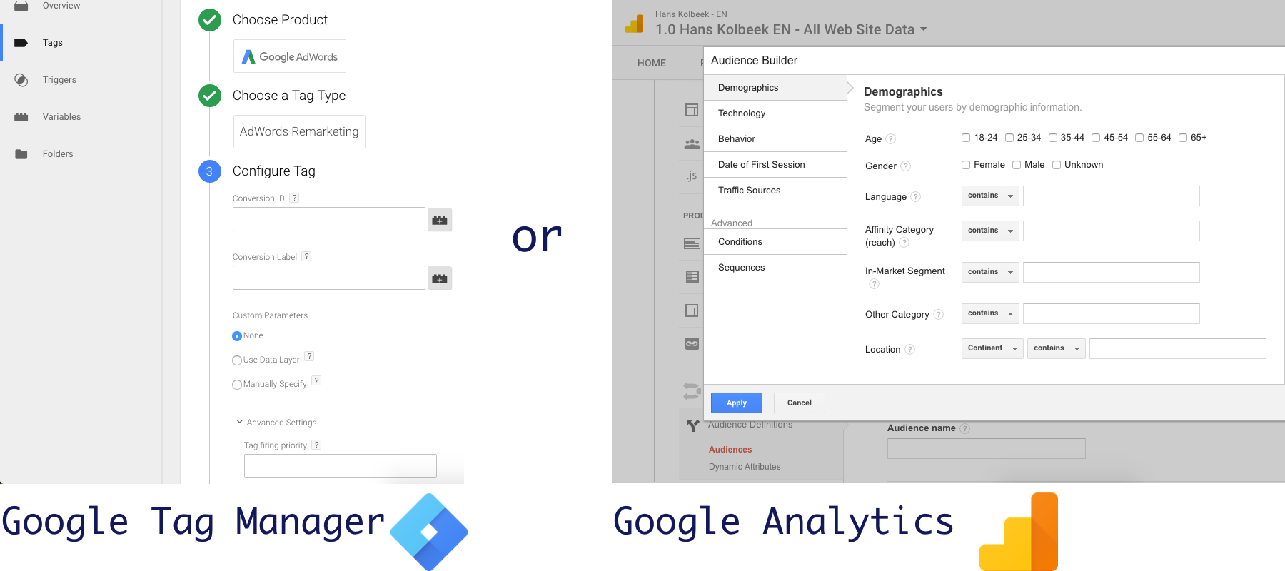 setting up remarketing lists in Google Tag Manager of Google Analytics