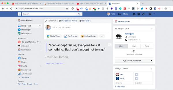 Facebook News Feed Eradicator - Hans Kolbeek